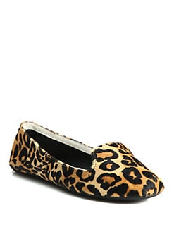 Charles Philip Shanghai - Leopard-Print Calf Hair Smoking Slippers