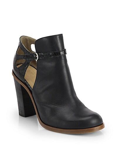 08062c4e624 MM6 Maison Martin Margiela Leather Cutout Ankle Boots Black