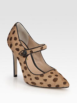 Pour La Victoire - Case Leopard-Print Calf Hair Mary Jane Pumps