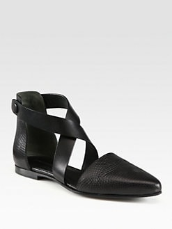 Alexander Wang - Tabea Lizard-Print Leather Criss-Cross Flats