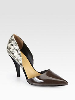 3.1 Phillip Lim - Diamond Snakeskin & Leather d'Orsay Pumps