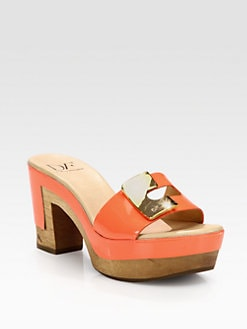 Diane von Furstenberg - Straton Patent Leather Clogs