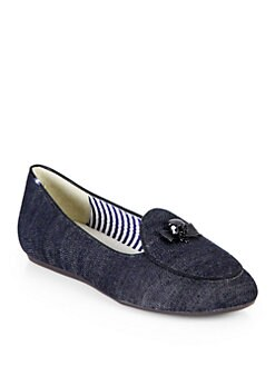 Charles Philip Shanghai - Skull Bow Denim Smoking Slippers