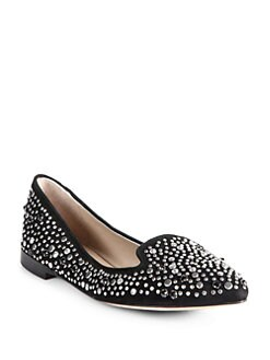 Jean-Michel Cazabat - Vanity Embellished Suede Smoking Slippers