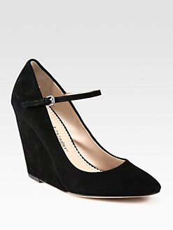 Jean-Michel Cazabat - Reva Suede Mary Jane Wedge Pumps