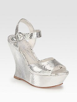 Alice + Olivia - Jana Metallic Leather Wedge Sandals
