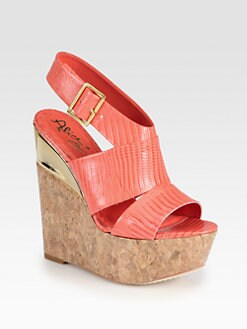 Alice + Olivia - Steffie Lizard-Print Leather Cork Wedge Sandals