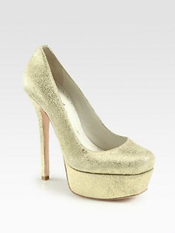 Alice + Olivia - Larimore Metallic Suede Platform Pumps