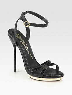 Alice + Olivia - Paola Lizard-Print Leather Platform Sandals