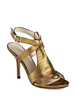 Elizabeth and James - Tango Embossed Metallic Leather Sandals