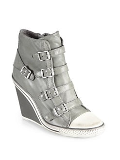 Ash - Thelma Leather Wedge Sneakers