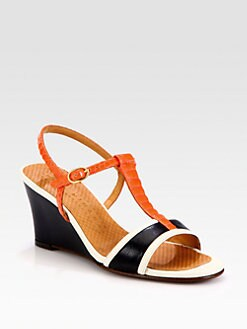 Chie Mihara - Anamari Leather & Snake-Print Patent Wedge Sandals