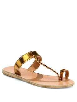 Ancient Greek Sandals - Melpomeni Metallic Leather Braided Thong Sandals