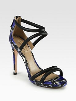 Aquazzura - Cheeta Bombe Snakeskin & Leather Sandals