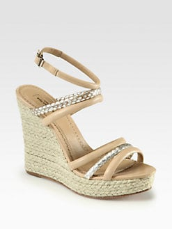 Aquazzura - Tarzan Bombe Leather & Snakeskin Espadrille Wedges
