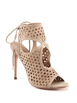 Aquazzura - Sexy Suede Cutout Ankle Boots