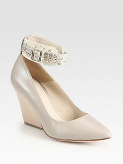 Elizabeth and James - Emily Snake-Print Ankle Strap Leather Pumps