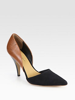 3.1 Phillip Lim - Diamond Speckled Leather & Suede d'Orsay Pumps
