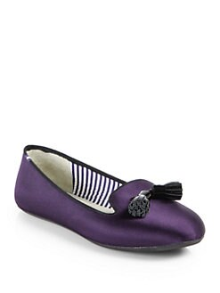 Charles Philip Shanghai - Satin Tassel Smoking Slippers
