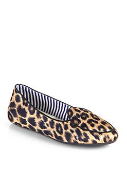 Charles Philip Shanghai - Satin Leopard-Print Smoking Slippers