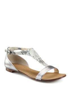 Boutique 9 - Piraya Snake-Print Metallic Leather Sandals