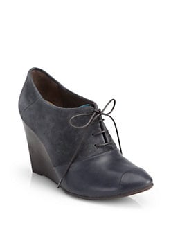 Coclico - Jazmine Suede & Leather Oxford Wedge Ankle Boots
