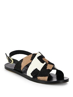 10 Crosby Derek Lam - Poet Printed Pony Hair & Leather Flat Sandals