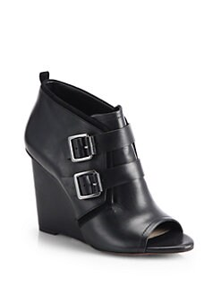10 Crosby Derek Lam - Zale Leather Buckle-Detail Wedge Ankle Boots