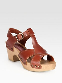 A.P.C. - Leather Wooden Platform Sandals