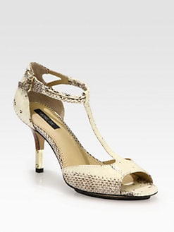 Rachel Zoe - Nicole Snake-Print Leather T-Strap Sandals