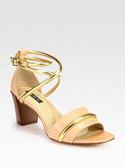 Rachel Zoe - Montana Leather & Metallic Ankle Strap Sandals