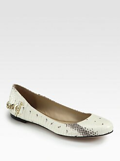 Rachel Zoe - Laura Snake-Embossed Leather Ballet Flats