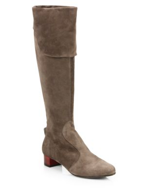 Sage Suede Knee-High Boots
