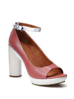 Marc by Marc Jacobs - Bicolor Leather Ankle Strap Platform Pumps