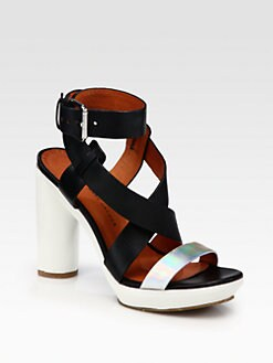 Marc by Marc Jacobs - Bicolor Crisscross Leather Platform Sandals