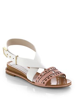 10 Crosby Derek Lam - Pilar Low-Wedge Leather Sandals
