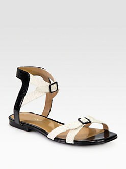 3.1 Phillip Lim - Daisy Patent & Textured Leather Sandals