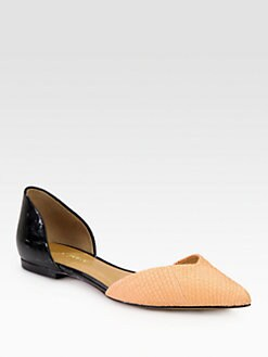 3.1 Phillip Lim - Devon d'Orsay Textured Leather & Patent Flats