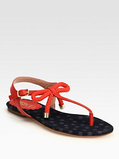 RED Valentino - Leather & Rope Bow T-Strap Sandals