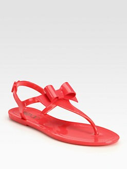 RED Valentino - Jelly T-Strap Bow Fliip Flops