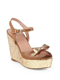 RED Valentino - Leather Bow Glitter Wedge Sandals