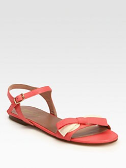 RED Valentino - Leather & Canvas Bow Sandals