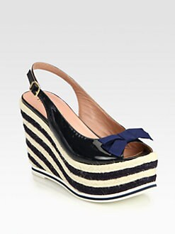 RED Valentino - Patent Leather & Canvas Bow Espadrille Wedges