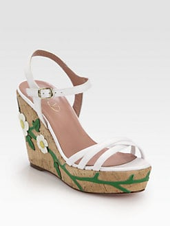 RED Valentino - Daisy Leather Cork Wedge Sandals