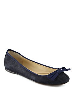 Vera Wang Lavender Label - Laetitia Denim Bow Ballet Flats