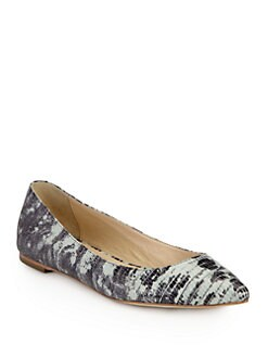 Loeffler Randall - Quinnie Lizard-Print Leather Ballet Flats