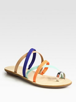 Loeffler Randall - Sarie Strappy Lizard-Print Leather Sandals