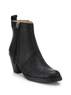 Acne - Pistol Metallic Leather Ankle Boots