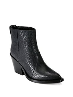 Acne - Donna Leather Cowboy Ankle Boots