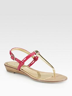 Boutique 9 - Pandi Patent & Metallic Leather T-Strap Sandals